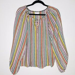 Parker Multi Color Striped Silk Blouse Sz Small